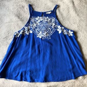 Royal Blue & White Embroidered Top